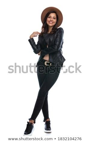 Charmant meisje jas zwarte leggings Stockfoto © acidgrey