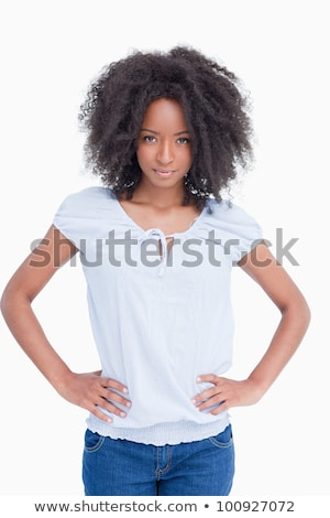 Glimlachend jonge brunette handen heupen witte Stockfoto © wavebreak_media