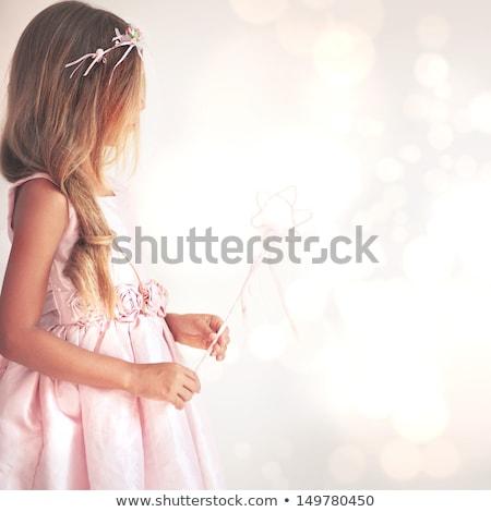 kislány · angyalszárnyak · egyéves · visel · fehér · hátulnézet - stock fotó © jirkaejc