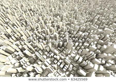 3D スカイライン 群衆 市 オフィス ストックフォト © digitalgenetics