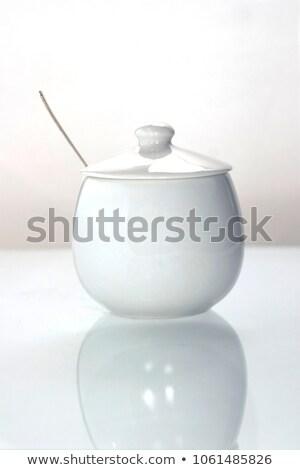 Porcelana cukru puchar brązowy tle tabeli Zdjęcia stock © grafvision