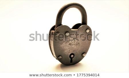 Vecchio affidabile lock arrugginito tre Foto d'archivio © Stocksnapper