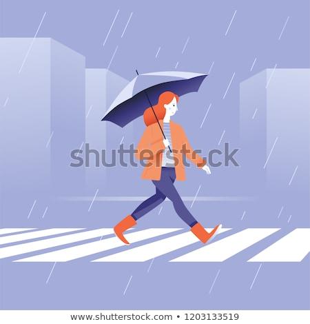 Menina guarda-chuva chuva little girl água primavera Foto stock © koca777