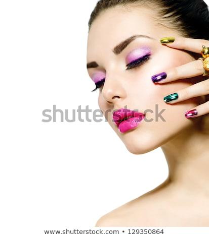 mooie · blond · meisje · rode · lippen · nagels · eten - stockfoto © victoria_andreas