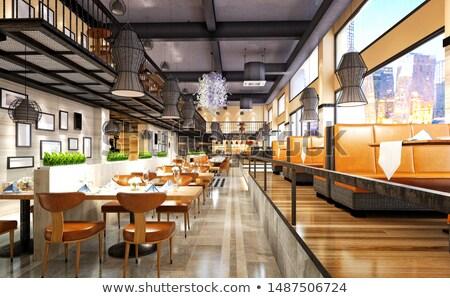 Restaurant eetkamer glas hotel cafe plaat Stockfoto © bigjohn36