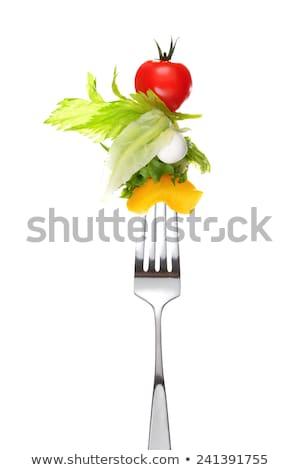 garfo · salada · perfurante · peça · alface · comida - foto stock © hojo