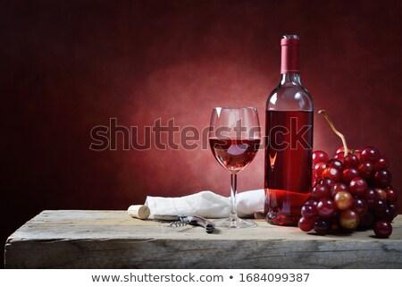 бутылку вина натюрморт цветок стекла вино фотография Сток-фото © ABBPhoto