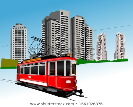 Dormitory and rarity tram. Vector illustration Stock photo © leonido