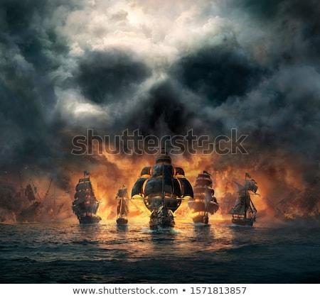 eski · korsan · gemi · yelkencilik · okyanus · gün · batımı - stok fotoğraf © hitdelight