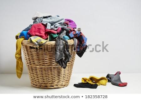 Szennyeskosár koszos ruházat fehér háttér takarítás Stock fotó © devon
