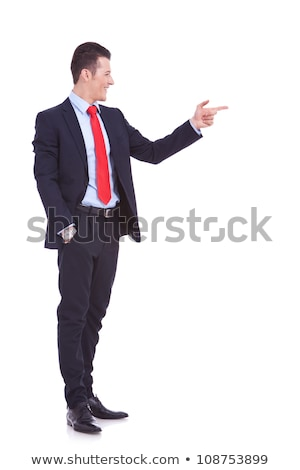 full body picture of a  business man pointing his fingers Stock photo © feedough