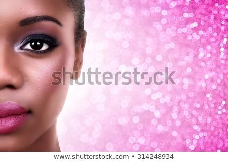 mujer · rosa · ahumado · ojos · hermosa · morena - foto stock © juniart