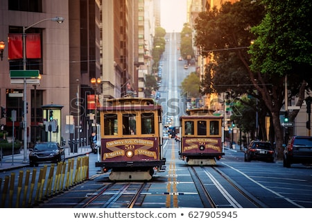 San Francisco downtown buildings and tram California Stock photo © lunamarina