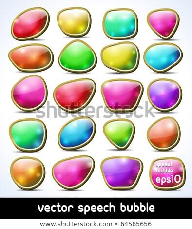 Fényes drágakő színek szövegbuborék szett vektor Stock fotó © burakowski