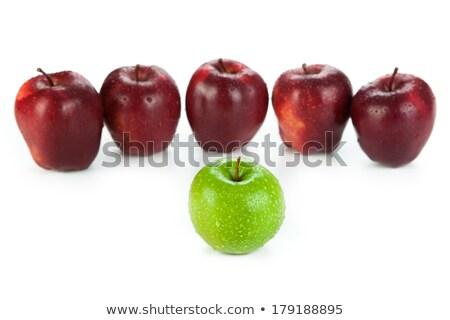 Kastanjebruin appels omhoog rij groene appel Stockfoto © mizar_21984
