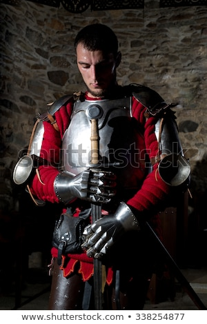 medieval knight with sword and shield against stone wall stock photo © nejron