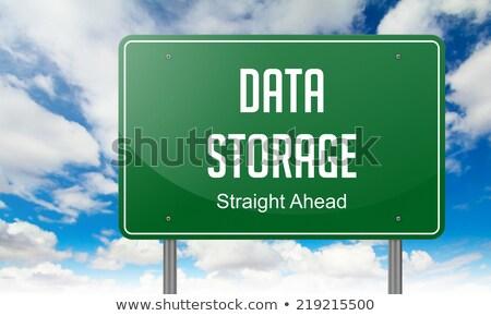 Przechowywanie danych autostrady kierunkowskaz drogowego technologii tle Zdjęcia stock © tashatuvango