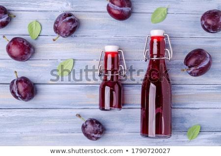 Pruim sap vruchten gezondheid groep dessert Stockfoto © yelenayemchuk