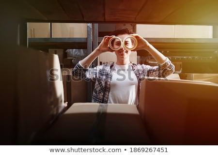 少女 カートン 眼鏡 ジョーク 黒 ストックフォト © Giulio_Fornasar