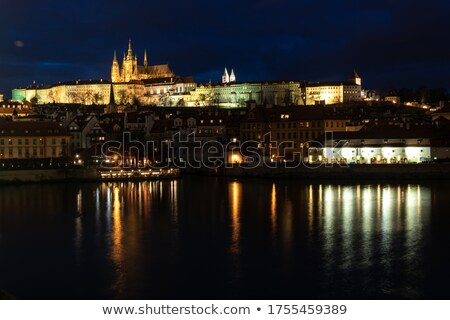 Praga · castelo · inverno · noite · foto - foto stock © Dermot68