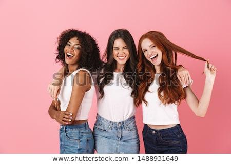 Trois filles femme visage heureux amis Photo stock © Vg