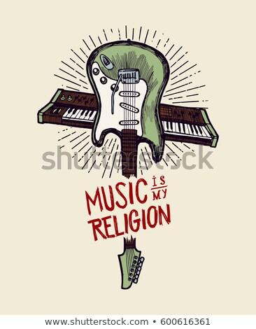 Música meu religião tipografia cartaz magenta Foto stock © maxmitzu