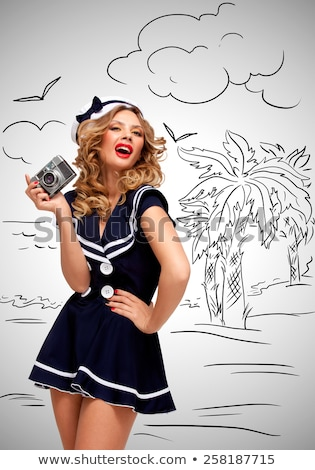 Sailor girl with camera. Stock photo © Fisher