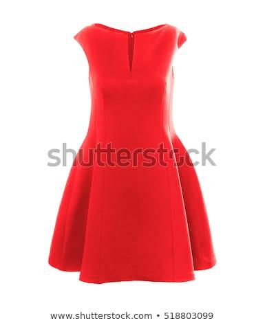 Stockfoto: Mooie · dame · Rood · zwarte · jurk · geïsoleerd · witte