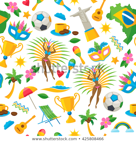 brazil background with icons and illustration stock photo © marish