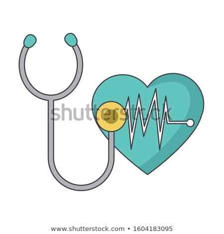 Szív sztetoszkóp elektrokardiogram grafikon fehér hát Stock fotó © tetkoren