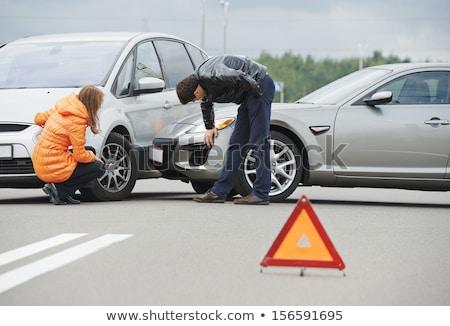 Sofőr férfi megvizsgál sérült autómobil autók Stock fotó © vlad_star