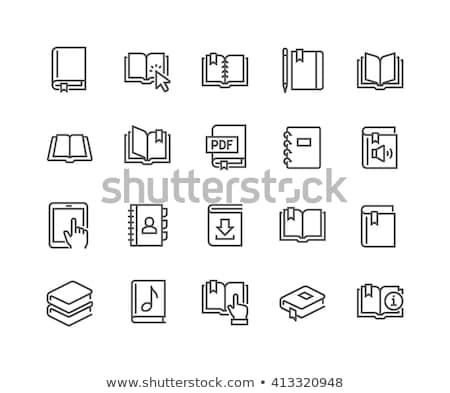 boeken · lijn · icon · hoeken · web · mobiele - stockfoto © rastudio