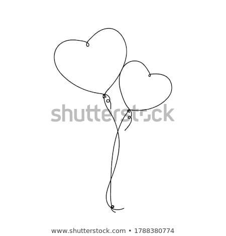 léggömbök · stílus · szívek · vásár · feliratok · illusztráció - stock fotó © MaxPainter