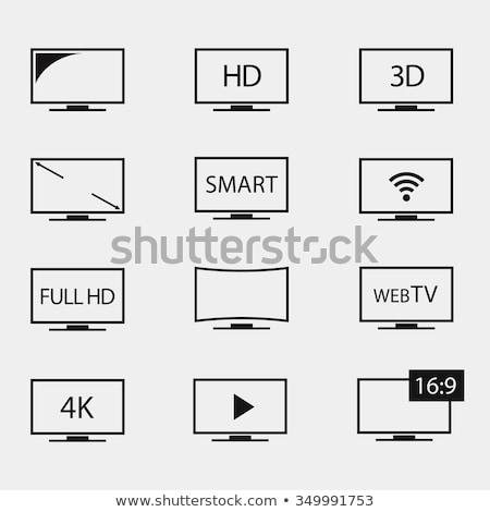 Hd телевизор икона дизайна иллюстрация компьютер Сток-фото © kiddaikiddee