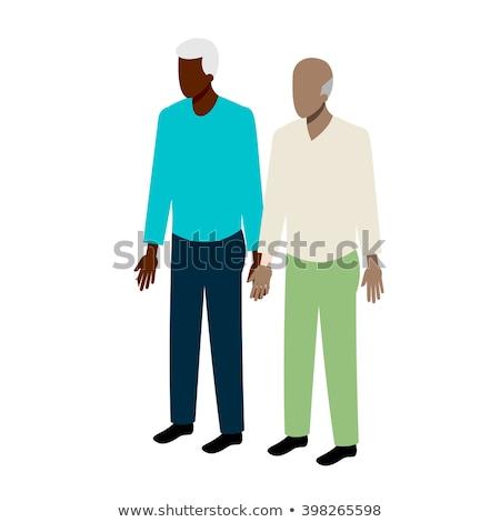 close up of male gay couple holding gender symbol stock photo © dolgachov