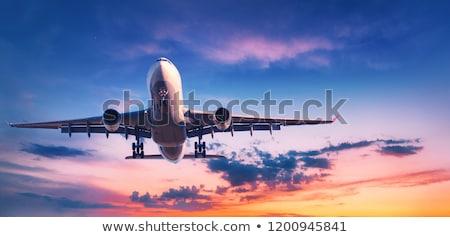 Repülőgép repülés illusztráció fehér Föld kék Stock fotó © bluering