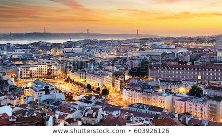 Vista puesta de sol Lisboa Portugal barrio antiguo retro Foto stock © neirfy