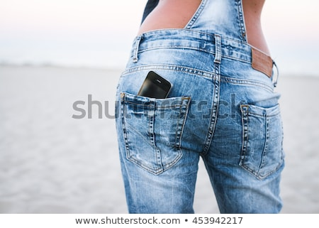 Tela jeans bolso telefone moda Foto stock © deandrobot