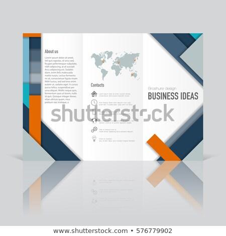 брошюра · листовка · зигзаг · сложенный · студию · 3d · иллюстрации - Сток-фото © cherezoff