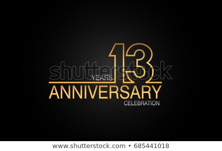 13th anniversary celebration badge label in golden color Stock photo © SArts