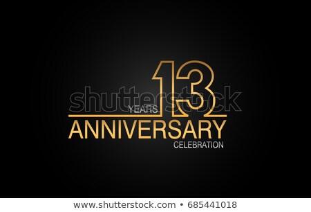 évforduló ünneplés kitűző címke arany szín Stock fotó © SArts