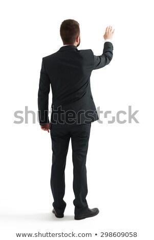 Foto stock: Ver · de · volta · empresário · indicação · dedo · branco · sensual