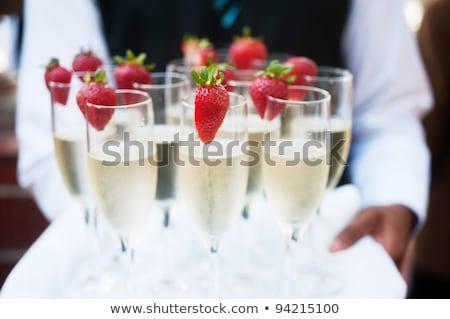 champagne · aardbei · foto · fles · bril · stijl - stockfoto © shai_halud