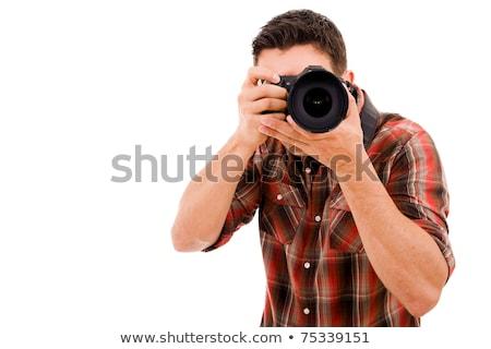 Mannelijke fotograaf camera geïsoleerd witte portret Stockfoto © julenochek