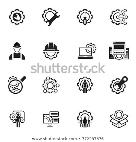Fabrico ícone engrenagem chave inglesa serviço símbolo Foto stock © WaD