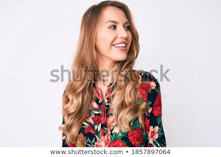 oldalnézet · mosolyog · üzletasszony · fehér · kezek · munkás - stock fotó © deandrobot