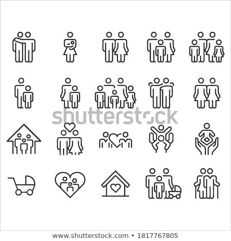 Stock photo: Family line icon set.