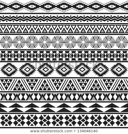 Black and white tribal ethnic pattern with triangle elements, tr Stock photo © BlueLela
