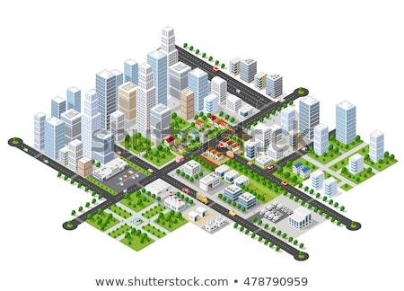 изометрический город транспорт задний 3D Сток-фото © Genestro