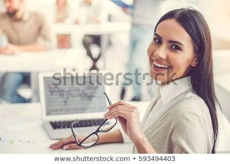 nők · dolgozik · mosolyog · üzlet · megbeszélés · üveg - stock fotó © IS2